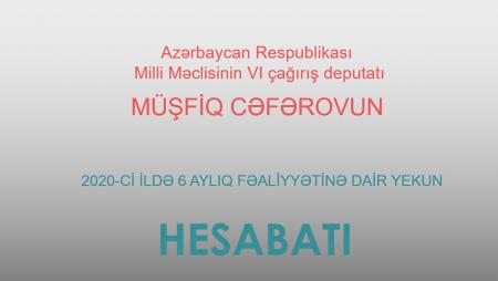 Milli Məclisin deputatı Müşfiq Cəfərov 6 aylıq fəaliyyətinə dair yekun hesabatını ictimaiyyətə təqdim edir